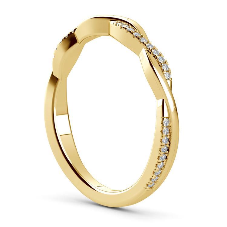 Twisted Diamond Wedding Band In Yellow Gold | 04