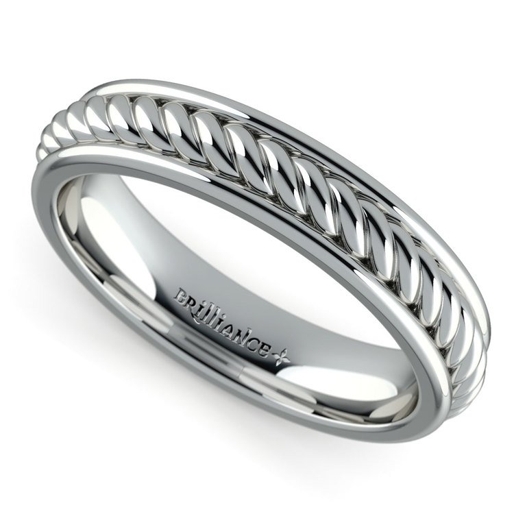 Twisted Rope Comfort Fit Wedding Ring in White Gold | 01