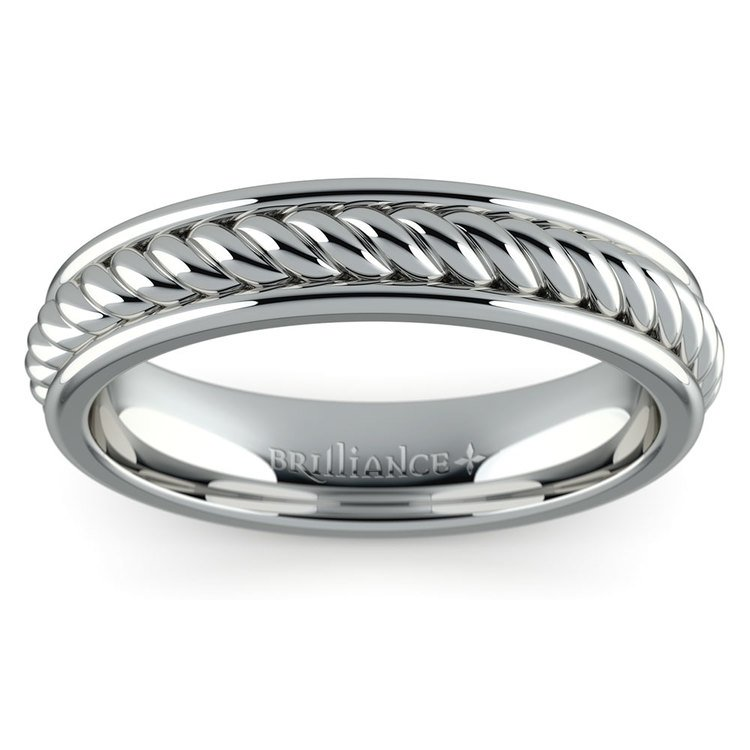 Twisted Rope Comfort Fit Wedding Ring in White Gold | 02