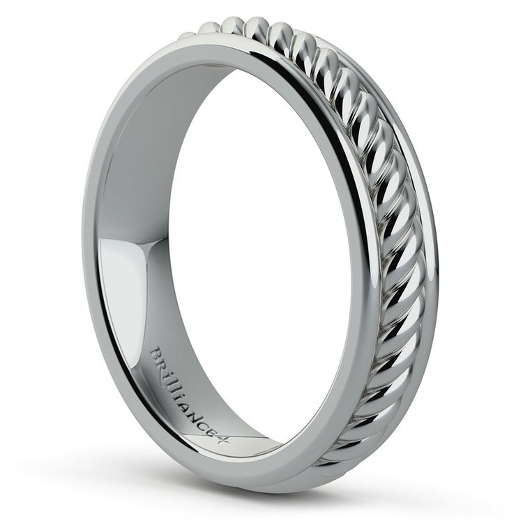 Twisted Rope Comfort Fit Wedding Ring in White Gold | 04