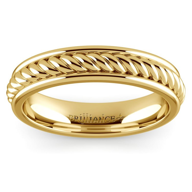 Twisted Rope Comfort Fit Wedding Ring in Yellow Gold | 02