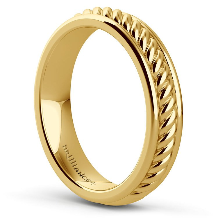 Twisted Rope Comfort Fit Wedding Ring in Yellow Gold | 04
