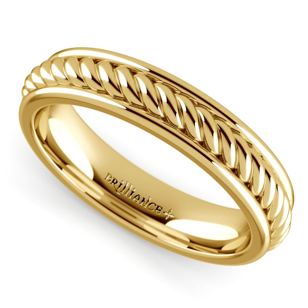 Twisted rope comfort fit wedding ring in yellow gold for Wedding ring fitters