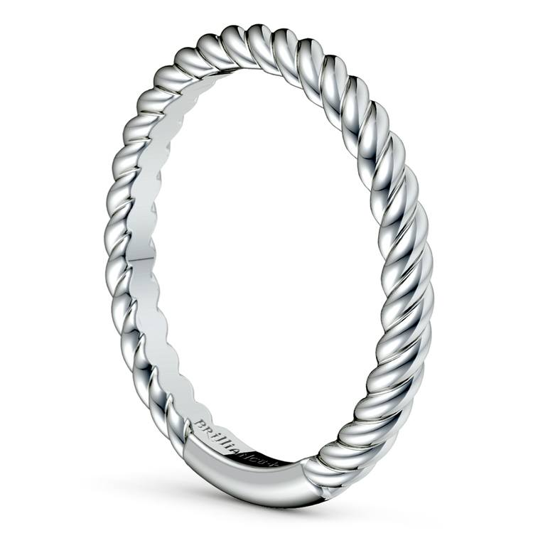 Twisted Rope Wedding Ring in White Gold
