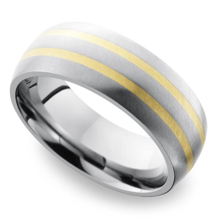 Two 14K Yellow Gold Inlays Men's Wedding Ring in Titanium | 01