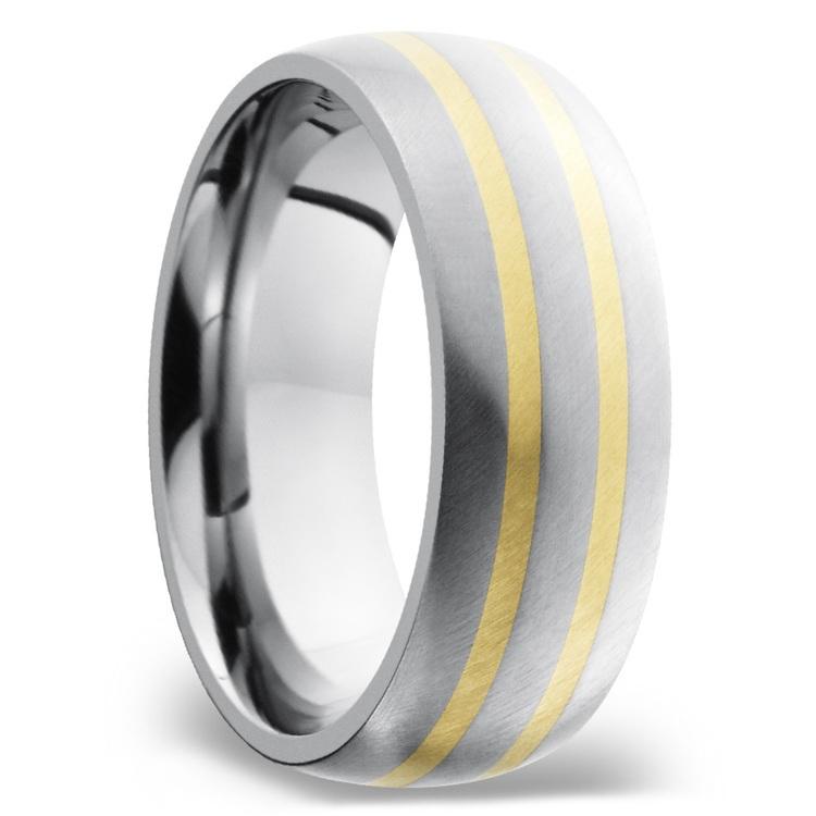 Two 14K Yellow Gold Inlays Men's Wedding Ring in Titanium | 02