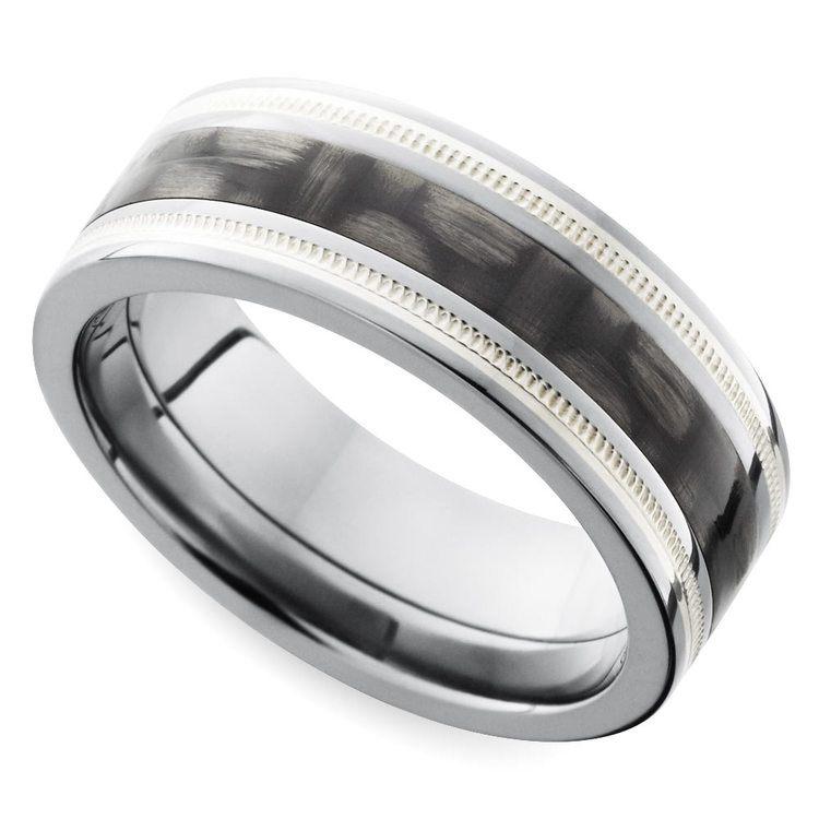 Two-tone Carbon Fiber Milgrain Men's Wedding Ring in Titanium | 01