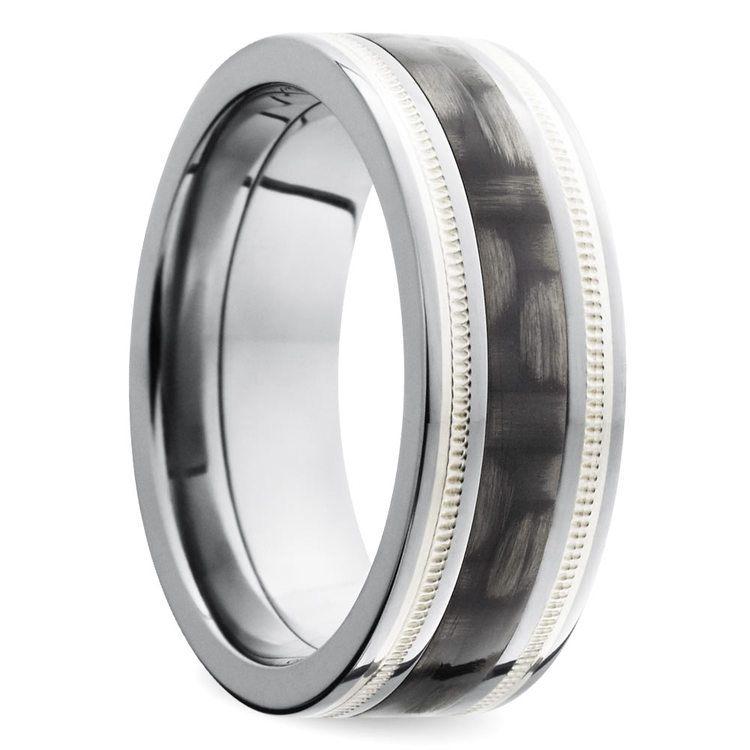 Two-tone Carbon Fiber Milgrain Men's Wedding Ring in Titanium | 02