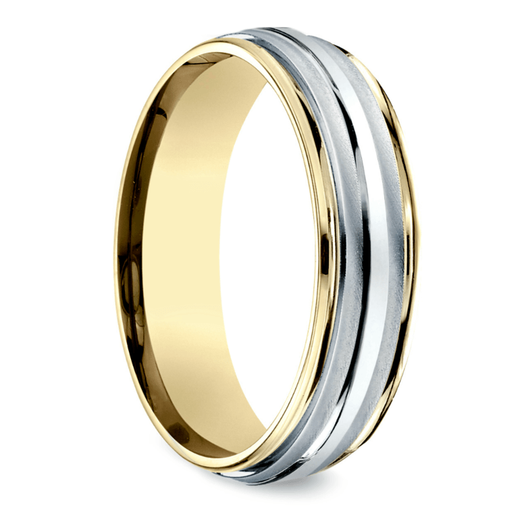 Two Toned Sectional Men's Wedding Ring in Platinum & Yellow Gold | 02