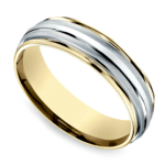 Two Toned Sectional Men's Wedding Ring in White & Yellow Gold | Thumbnail 01