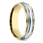 Two Toned Sectional Men's Wedding Ring in White & Yellow Gold | Thumbnail 02