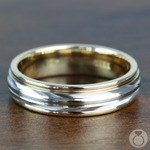 Two Toned Sectional Men's Wedding Ring in White & Yellow Gold | Thumbnail 03