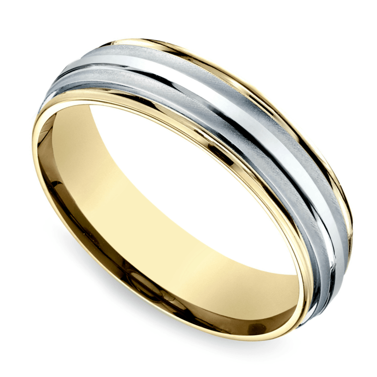 Two Toned Sectional Men's Wedding Ring in White & Yellow Gold | Zoom