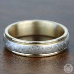 Two Toned Swirl Men's Wedding Ring in White & Yellow Gold | Thumbnail 03