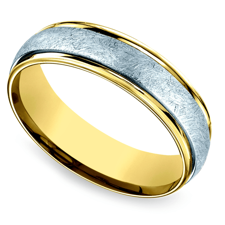 Two Toned Swirl Men's Wedding Ring in White & Yellow Gold | 01