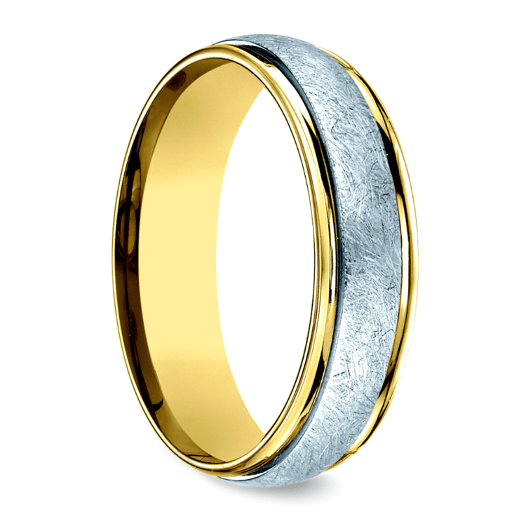 Two Toned Swirl Men's Wedding Ring in White & Yellow Gold | 02