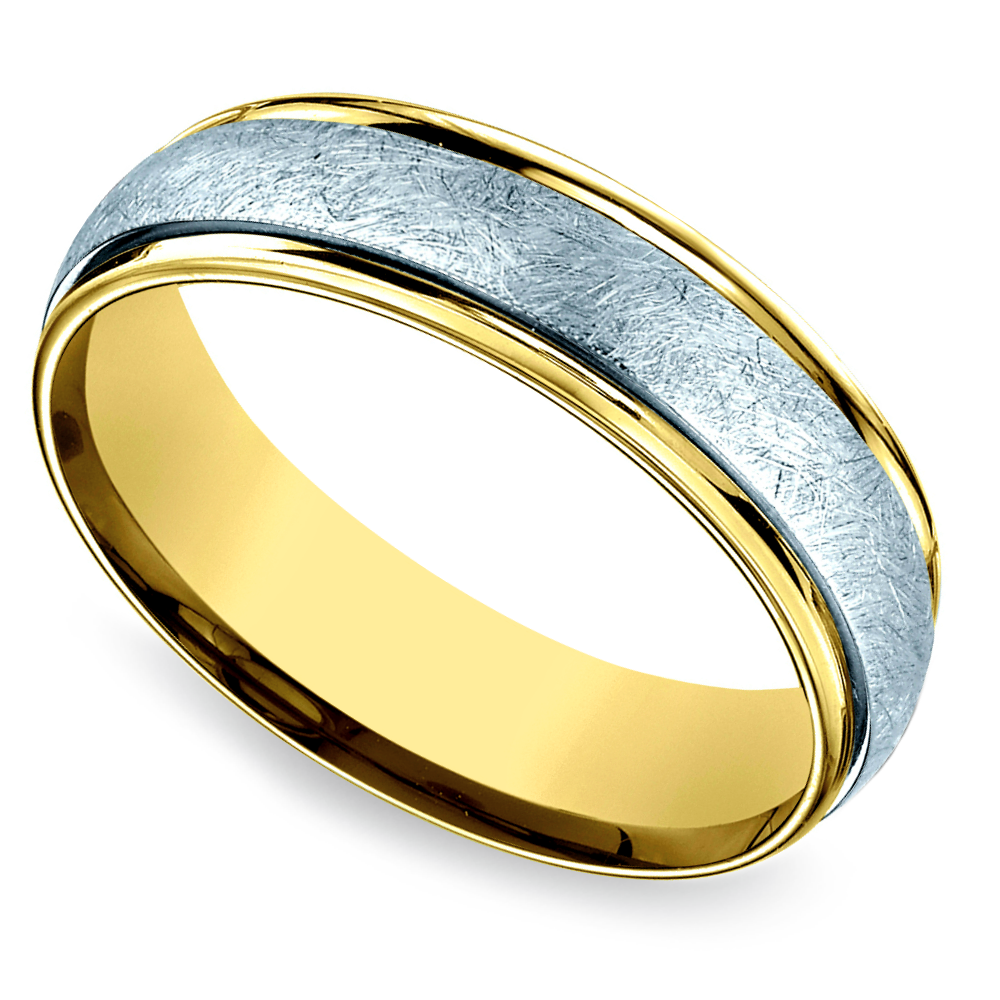 Wedding White And Yellow: Two Toned Swirl Men's Wedding Ring In White & Yellow Gold