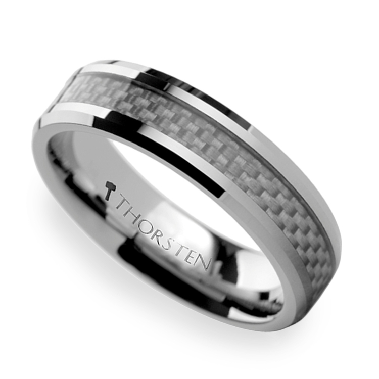 Beveled Tungsten Men's Ring With White Carbon Fiber Inlay (6mm) | 01