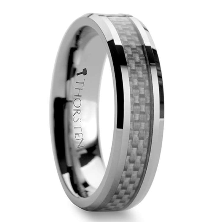 Beveled Tungsten Men's Ring With White Carbon Fiber Inlay (6mm) | 02