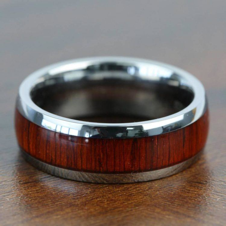 Vermillion - Domed Tungsten Mens Band in Padauk Wood Inlay | 06