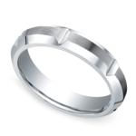 Vertical Grooved Men's Wedding Ring in Cobalt (5mm) | Thumbnail 01