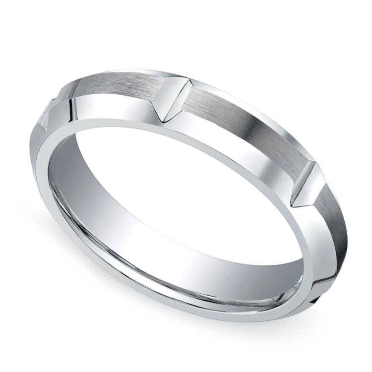 Vertical Grooved Men's Wedding Ring in Cobalt (5mm) | 01