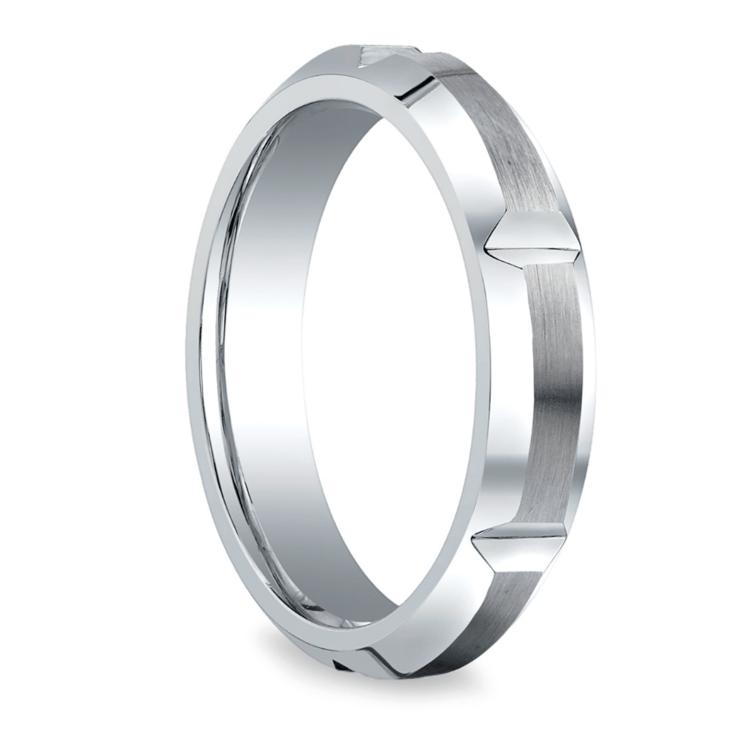 Vertical Grooved Men's Wedding Ring in Cobalt (5mm) | 02