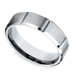 Vertical Grooved Men's Wedding Ring in Palladium | Thumbnail 01