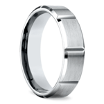 Vertical Grooved Men's Wedding Ring in Palladium | Thumbnail 02