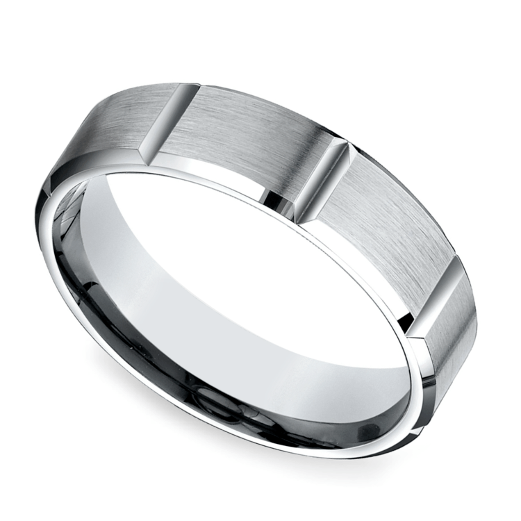 Vertical Grooved Men's Wedding Ring in Palladium | 01