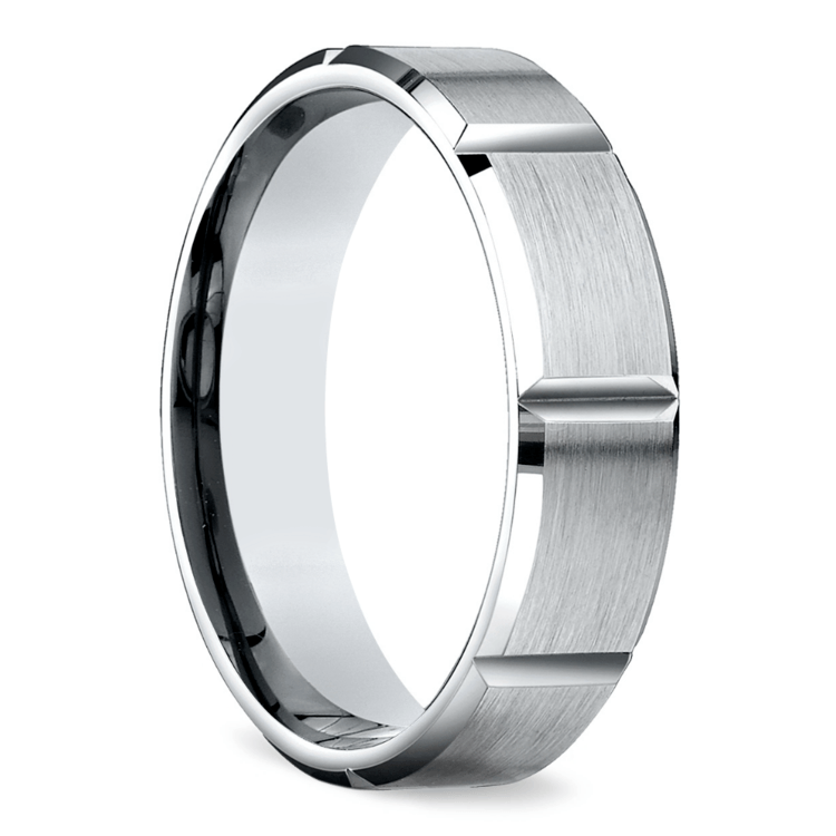 Vertical Grooved Men's Wedding Ring in Palladium | 02