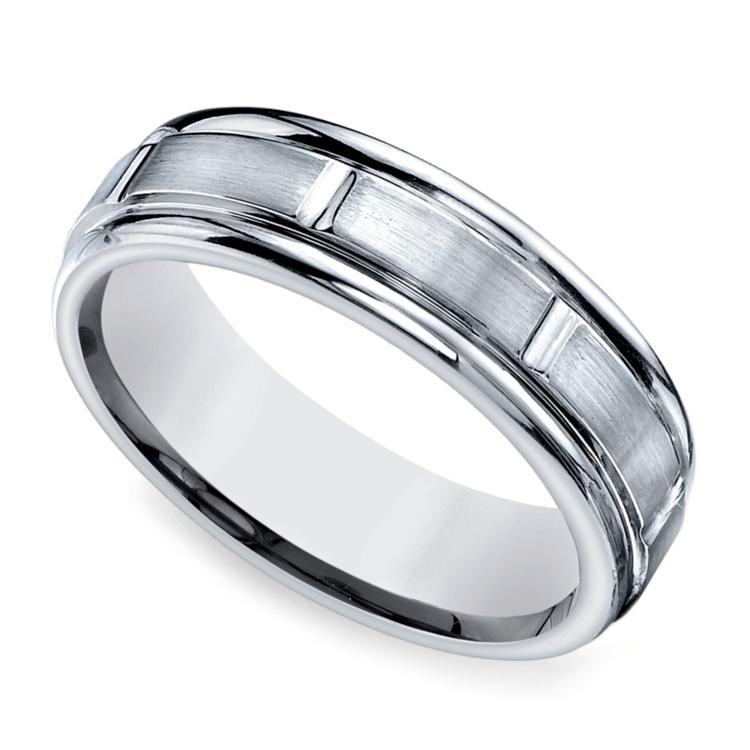 Vertical Grooved Men's Wedding Ring in Platinum | 01