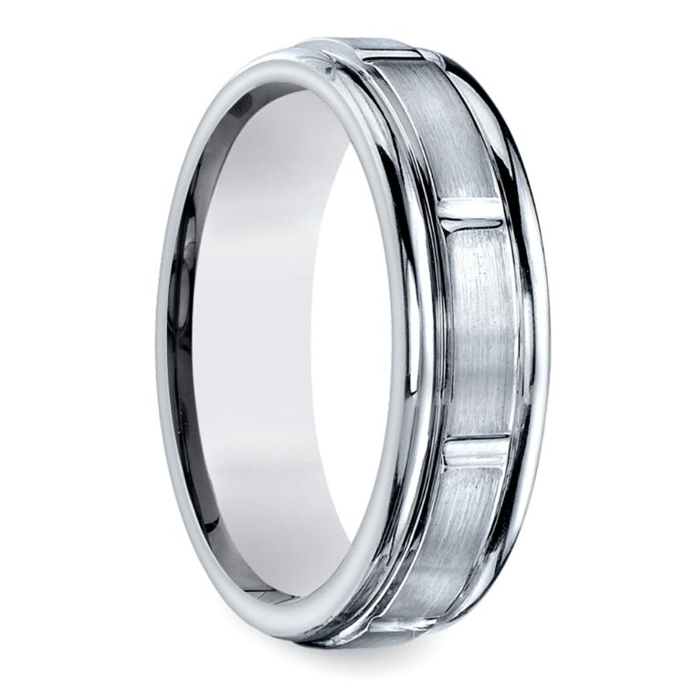 Vertical Grooved Men's Wedding Ring in Platinum | 02