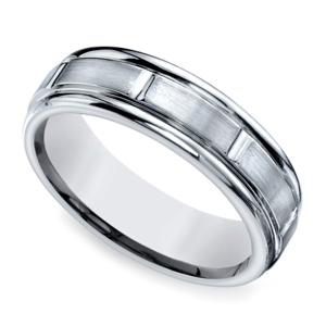 Vertical Grooved Men's Wedding Ring in White Gold