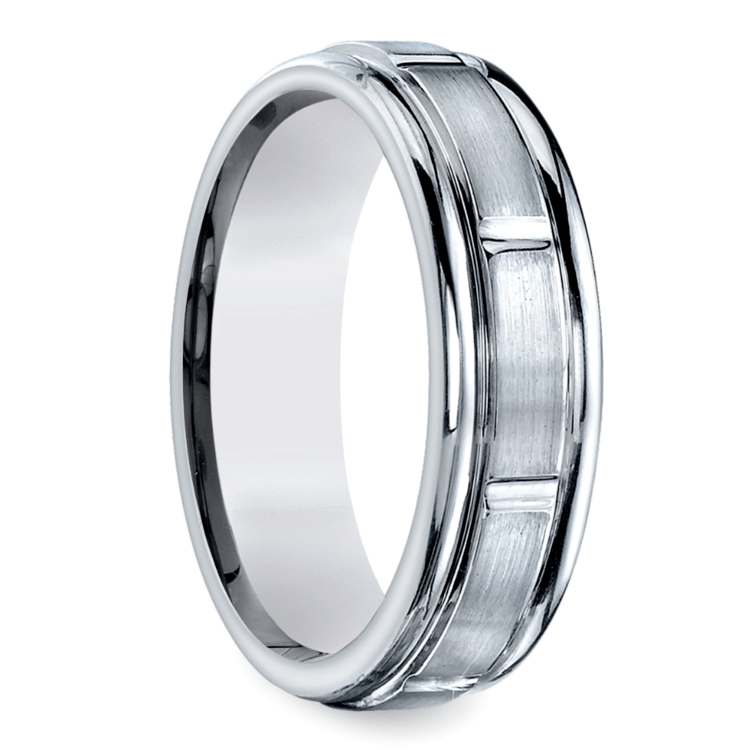 Vertical Grooved Men's Wedding Ring in White Gold | 02