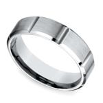 Vertical Grooved Men's Wedding Ring in White Gold | Thumbnail 01