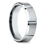 Vertical Grooved Men's Wedding Ring in White Gold | Thumbnail 02