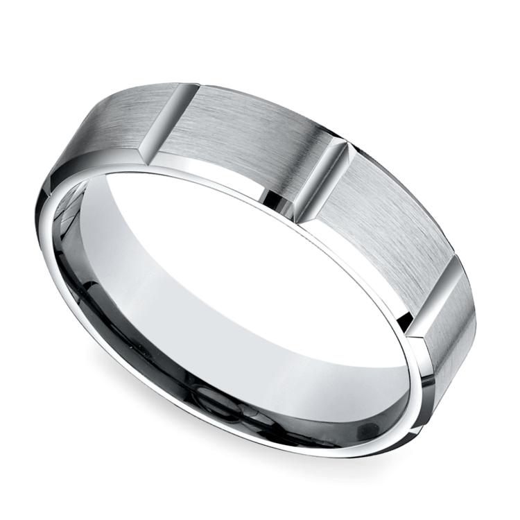 Vertical Grooved Men's Wedding Ring in White Gold | 01