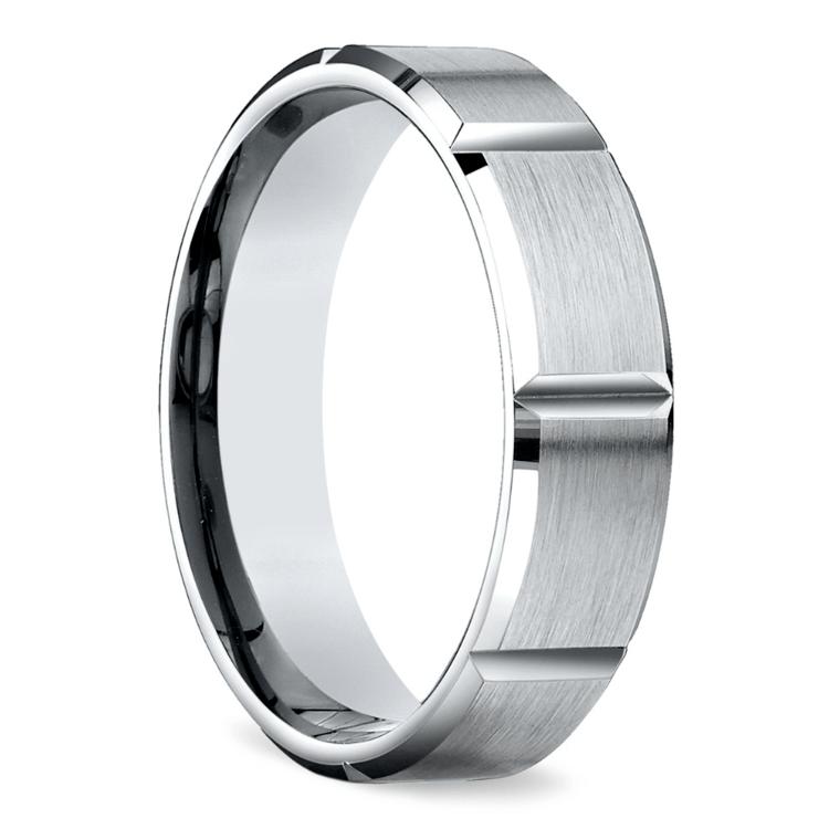 Vertical Grooved Men's Wedding Ring in White Gold | 02