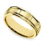 Vertical Grooved Men's Wedding Band in Yellow Gold | Thumbnail 01