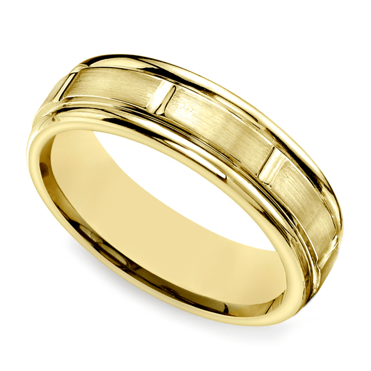 Vertical Grooved Men's Wedding Band in Yellow Gold | 01