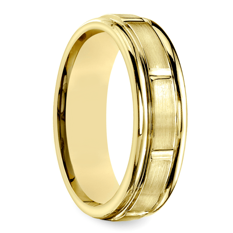 Vertical Grooved Men's Wedding Band in Yellow Gold | 02