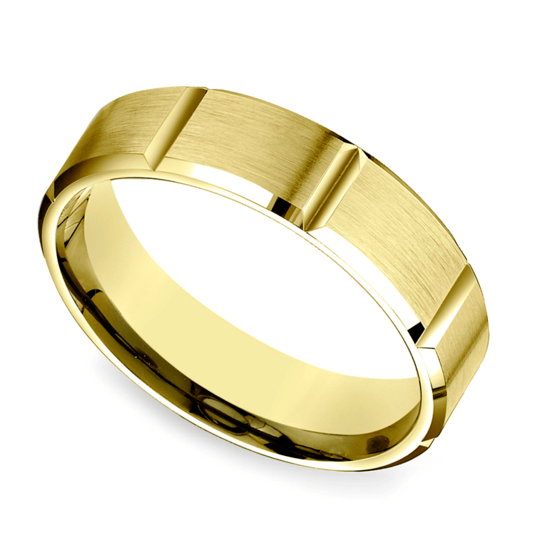 Vertical Grooved Men's Wedding Ring in Yellow Gold | 01