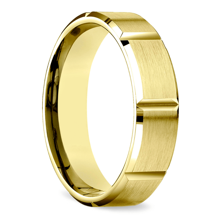 Vertical Grooved Men's Wedding Ring in Yellow Gold | 02