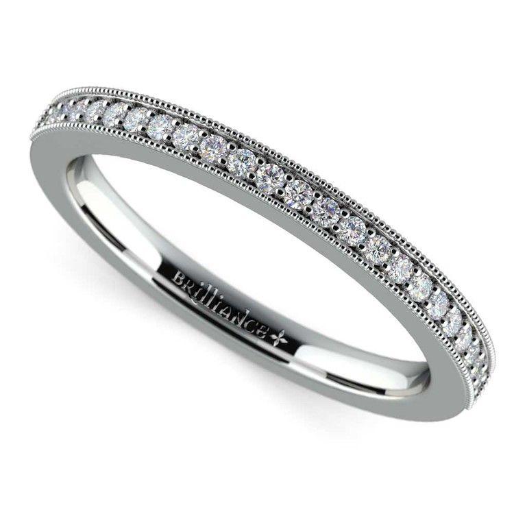Vintage Milgrain Diamond Wedding Ring in Platinum | 01