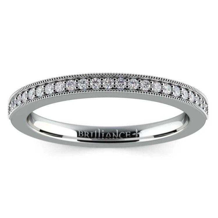 Vintage Milgrain Diamond Wedding Ring in Platinum | 02