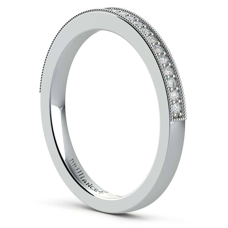 Vintage Milgrain Diamond Wedding Ring in Platinum | 04