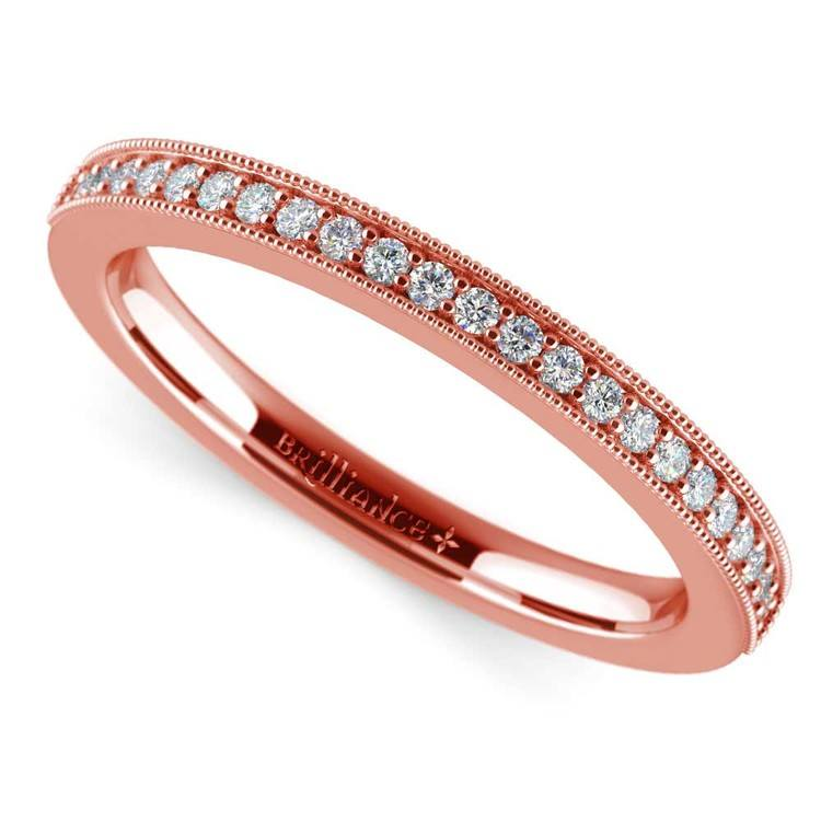 Vintage Milgrain Diamond Wedding Ring in Rose Gold | 01