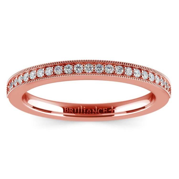 Vintage Milgrain Diamond Wedding Ring in Rose Gold | 02