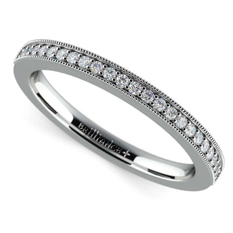 Vintage Milgrain Diamond Wedding Ring in White Gold   01
